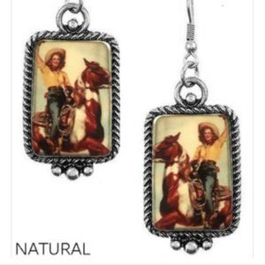 Western Picture Frame Cowgirl Rodeo Horse Earrings